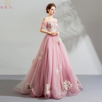 цена на Walk Beside You Pink Prom Dresses Boat Neck Short Sleeves Pattern Appliques Tulle A-line Off Shoulder Long Floor Length Lace Up