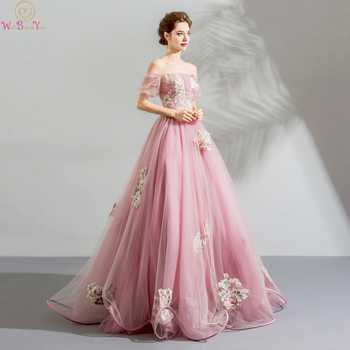 Walk Beside You Pink Prom Dresses Boat Neck Short Sleeves Pattern Appliques Tulle A-line Off Shoulder Long Floor Length Lace Up - Category 🛒 Weddings & Events