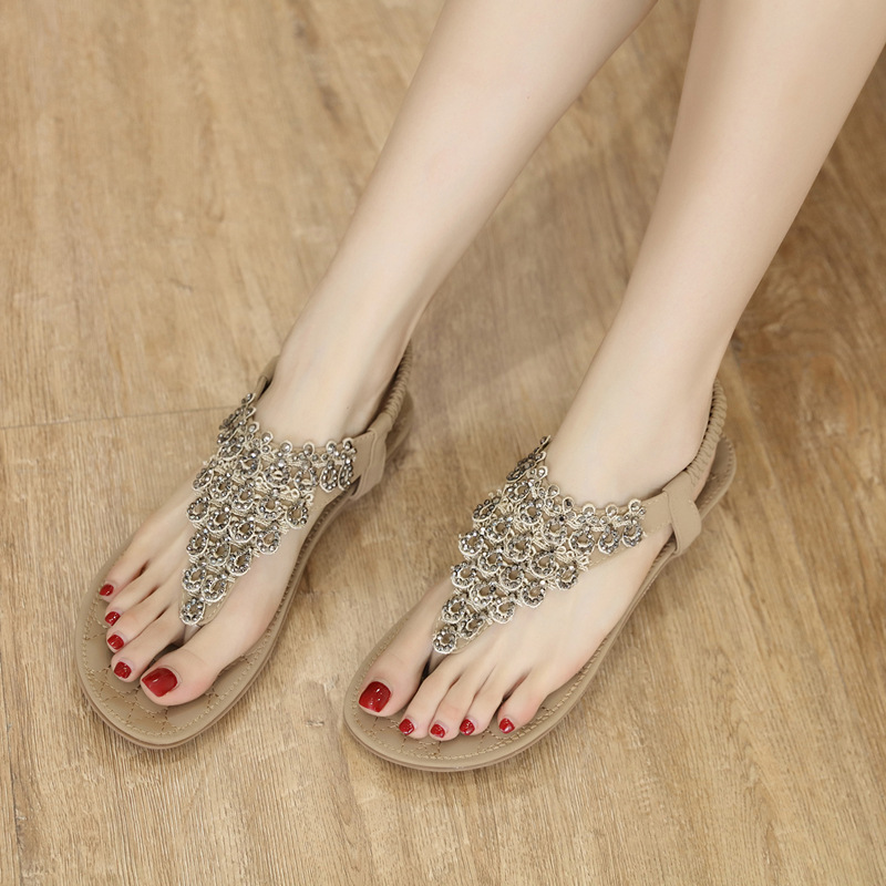 2019 Summer Women's Sandals Ethnic Flower Sequins T-Slippers Suitable for Indoor and Outdoor Large Size Sandals Platform Sandals