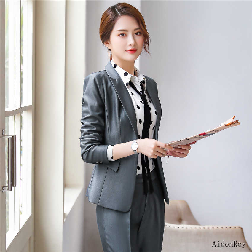e84ef204fd 2019 Formal elegante de la mujer de Primavera Verano azul gris traje  chaqueta femenina trajes Blazers