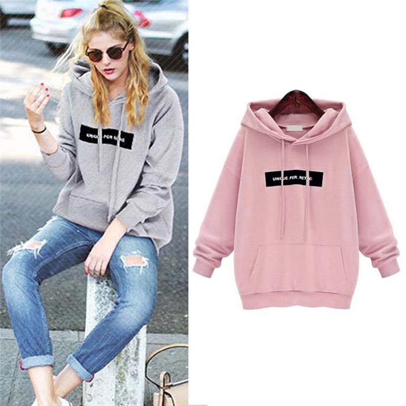 Women Loose Fleece Pullover Long Sleeve Thicken Hoodies With Letter Sweater Tops