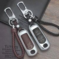 Zinc Alloy Leather Car Remote Key Case Cover For Mazda 2 3 6 Axela Atenza CX