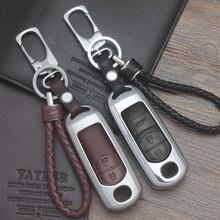 Zinc alloy+Leather Car Remote Key Case Cover For Mazda 2 3 6 Axela Atenza CX-5 CX5 CX-7 CX-9 2015 2016 2017 Smart 2/3 Buttons