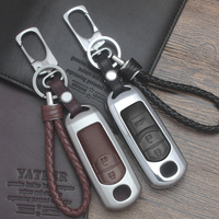 Zinc Alloy Leather Car Remote Key Case Cover For Mazda 2 3 6 Axela Atenza CX