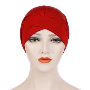 Image 3 - Kadın yumuşak uyku gece kap müslüman düz kızılderili şapkası Baggy kemo şapka türban bere Bonnet şapkalar Skullies geniş bant islam kap