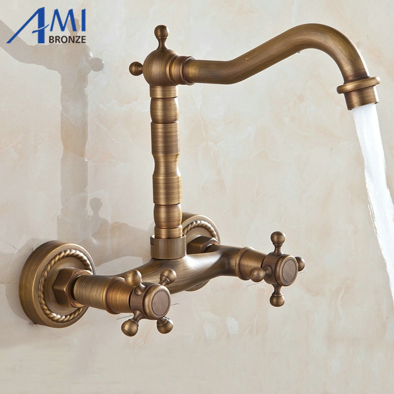 bathroom basin kitchen sink mixer tap swivel faucet Antique Bronze fashion style wall mounted 9058A цена