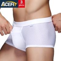 3 ieces/הרבה Acefit רשת משי קרח מודאלי תחתוני גברים מותג זכר צבע האחיד מתאגרף מכנסיים קצרים לנשימה רך נוח מכנסיים