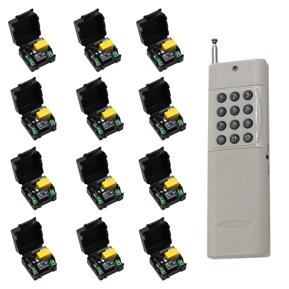 Long Distance Mini Size 220V 1CH Wireless Remote Control Switch Relay 12 X Receivers + 1 X 12CH Transmitter System 315/433MHZ 2 receivers 60 buzzers wireless restaurant buzzer caller table call calling button waiter pager system