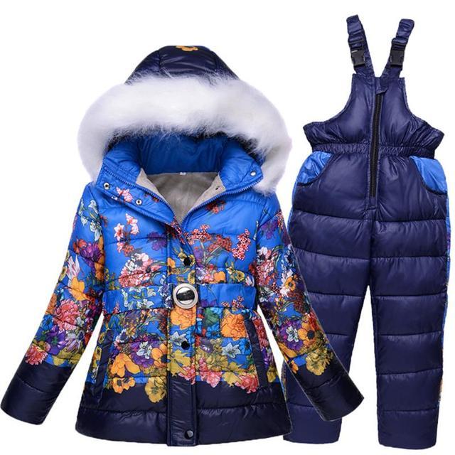 Rusland Winter-30 graden Baby Meisje Skipakken Sport Kids Jumpsuits Bont sneeuw jassen + broeken meisjes kleding hoogte 120-140 cm