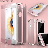 Luxury Slim Front Back Glass Film Silicone Aluminum Frame Cover For Apple IPhone 6 6S 4