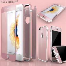 Роскошный тонкий спереди заднее стекло пленка + силиконовый алюминиевая рама Обложка для Apple iPhone 6/6 S Plus 360 градусов полный охват Капа