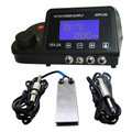 Porfessioanl Tattoo Power Supply Kit Dual LCD Tattoo Power Supply + Stianless Steel Tattoo Foot Pedal Switch Clip Cord freeship