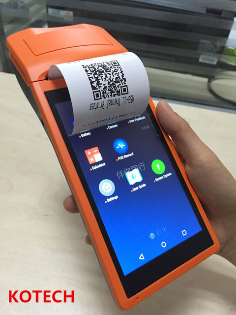 stock Android5.1 mobile 1D barcode scanner thermal printer