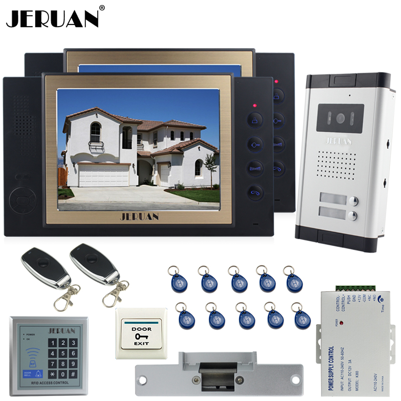 JERUAN Apartment 8`` TFT Video Door Phone Record Intercom System kit 700TVL Camera RFID Access Controller 8GB SD For 2 Household my apartment