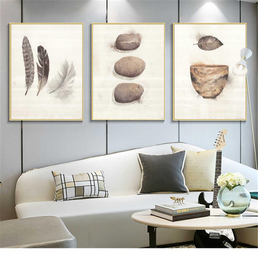 北欧キャンバス絵画ミニマリスト水彩羽 A4 アートプリントポスター石ボウルヒップスター壁写真キッズルームのホームインテリア