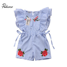 2018 Fashion Cute Toddler Kids Baby Girl Flower Striped Ruffle Romper Embroidery Flower Summer Blue Lace-up Jumpsuit Clothes