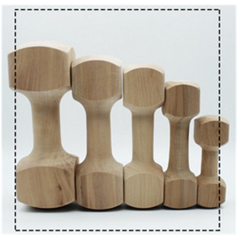 5 pièces Hateli bois massif os haltère chien jouet Pet morsure caoutchouc molaire os morsure résistant jouet - 5