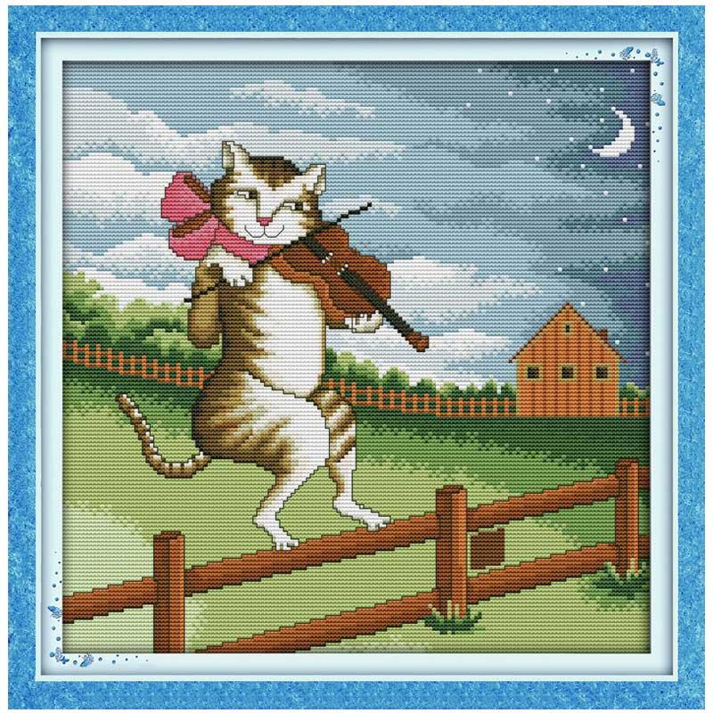 ④el Yapımı 11ct 14ct Kedi Oynarken Keman Boyama Sayılan