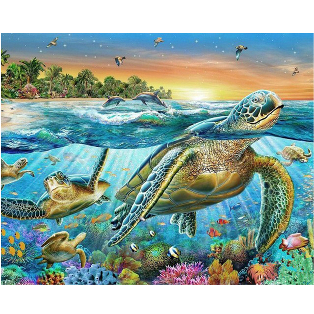 100% Full DIY 5D Diamond Painting Sea Turtle Cross Stitch Diamond Embroidery Patterns rhinestones Diamond Mosaic RS342
