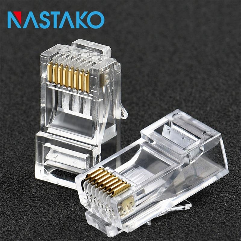 NASTAKO 50/100 piezas Cat6 RJ45 conector Cat 6 Modular tapones Cat6 de red Ethernet UTP Cable de cristal de macho 8P8C RJ45 conectores