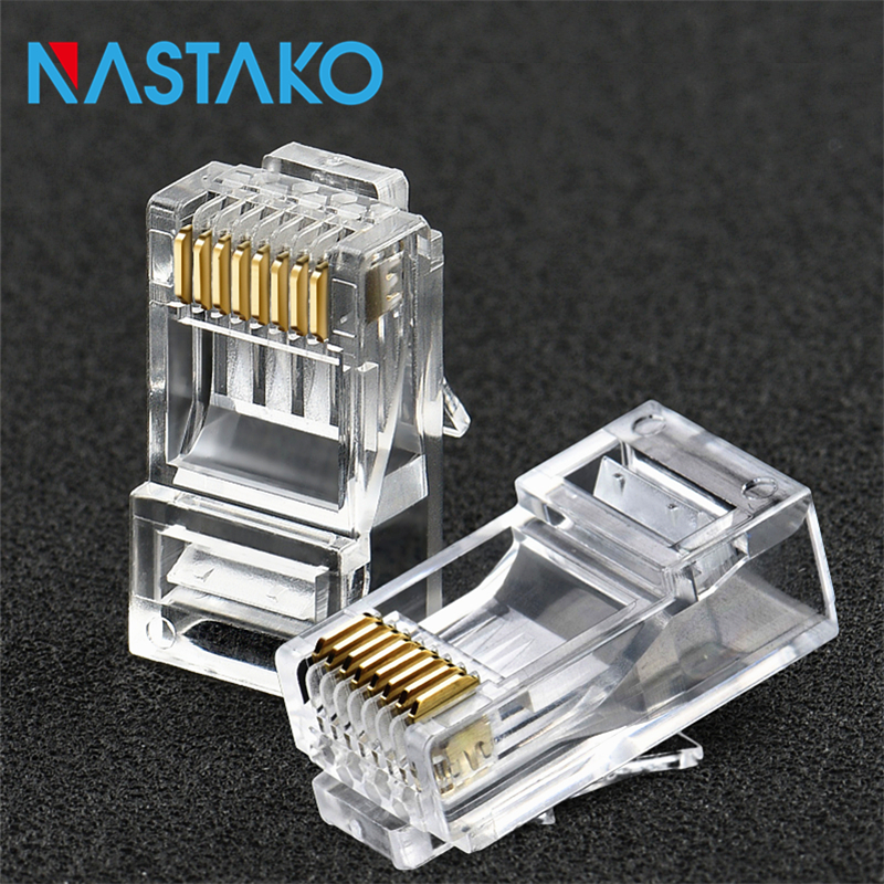NASTAKO 50/100pcs Cat6 RJ45 Connector Cat 6 Modular Plugs Cat6 Network Ethernet UTP Cable Crystal Plug 8P8C RJ45 Connectors imc hot 10 pcs rj45 8p8c double ports female plug telephone connector
