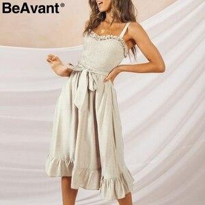 Image 4 - BeAvant elegancka, z falbanami plisowana damska bawełniana sukienka Ruched wysokiej talii letnia sukienka różowe ramiączka Spaghetti kobiece midi sukienka vestidos