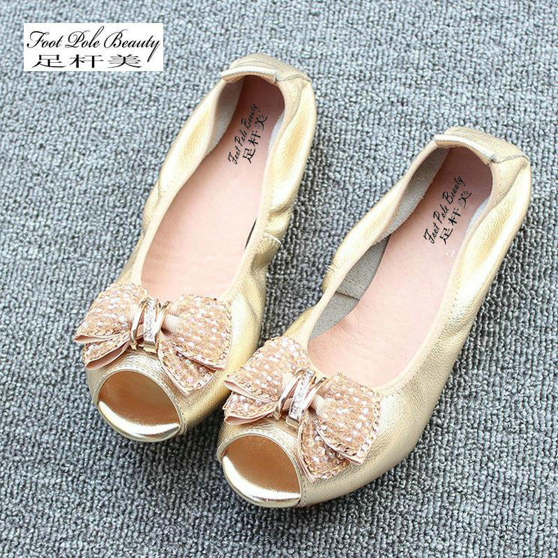 New Fashion Diamond bow women flats casual Mocassins Genuine leather Soft bottom flat shoes woman summer