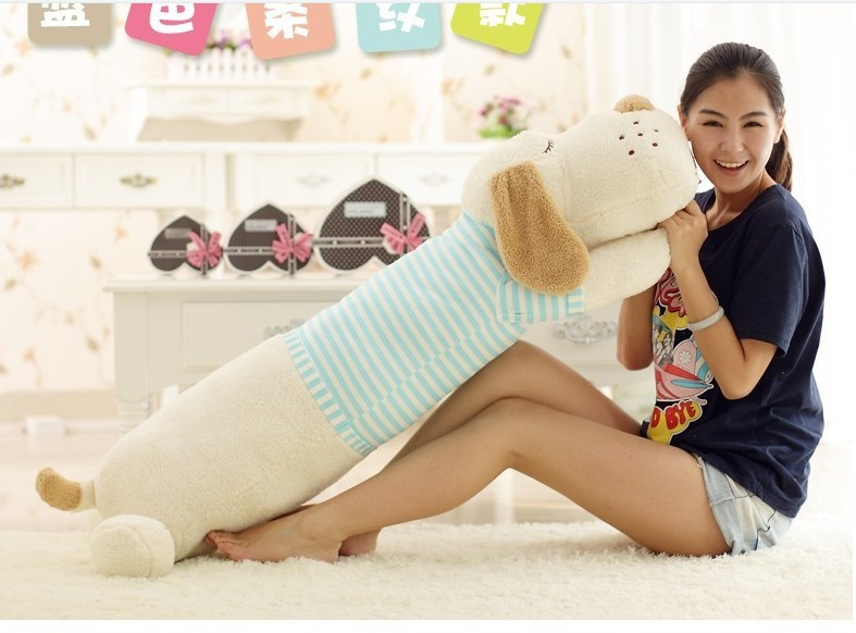 Plush dog pillow toy lovely white lying dog doll with blue stripe cloth birthday gift about 130cm