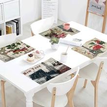 Gran oferta, servilleta con estampado de Torre Vintage de París para boda, tazón de cocina, estera de comedor, estampado de mariposas, juego de mesa, accesorios de decoración para el hogar