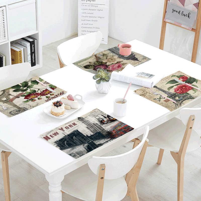 Offre spéciale Paris Vintage tour serviette imprimée pour mariage cuisine bol à manger tapis timbre papillon Table ensemble accessoires de décoration intérieure