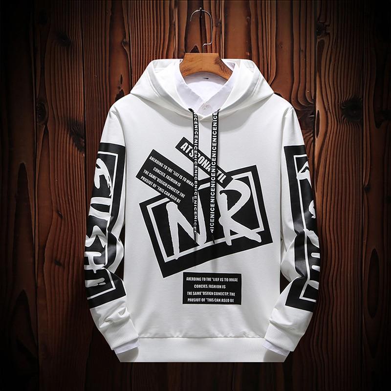 New Casual Black White HOODIE Men Hip Hop Street Wear Letter Print Sweatshirts Skateboard Men/Woman Pullover Hoodies Male Hoodie