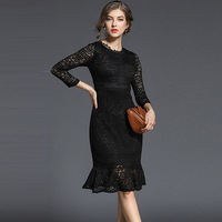 2018 Euro Style New Style Hollow Out Lace Round Neck Black Fishtail Dress Fashion All Matched