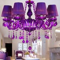 Бесплатная доставка 6/8/12 arm Вино Фиолетовый кристалл освещения прозрачный кристалл люстра светодиодные лампы внутреннего освещения гостин