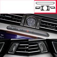 lsrtw2017 titanium black stainless steel car dashboard clock vent trims for volkswagen arteon 2018 2019