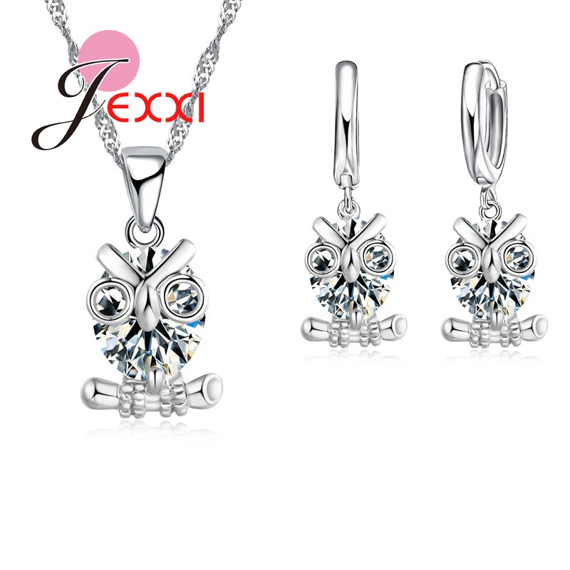 JEXXI Austrian Crystal Owl Jewelry Set For Women 925 Sterling Silver Pendant Necklaces Earrings Bridal Jewllery Sets For Woman