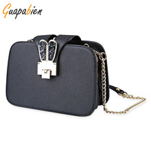 Guapabien Fashion Kawaii Rabbit Ear Buckle Trifold Clutch Women Bags Shoulder Bag Girls Chain Strap Flap Messenger Bags Handbags