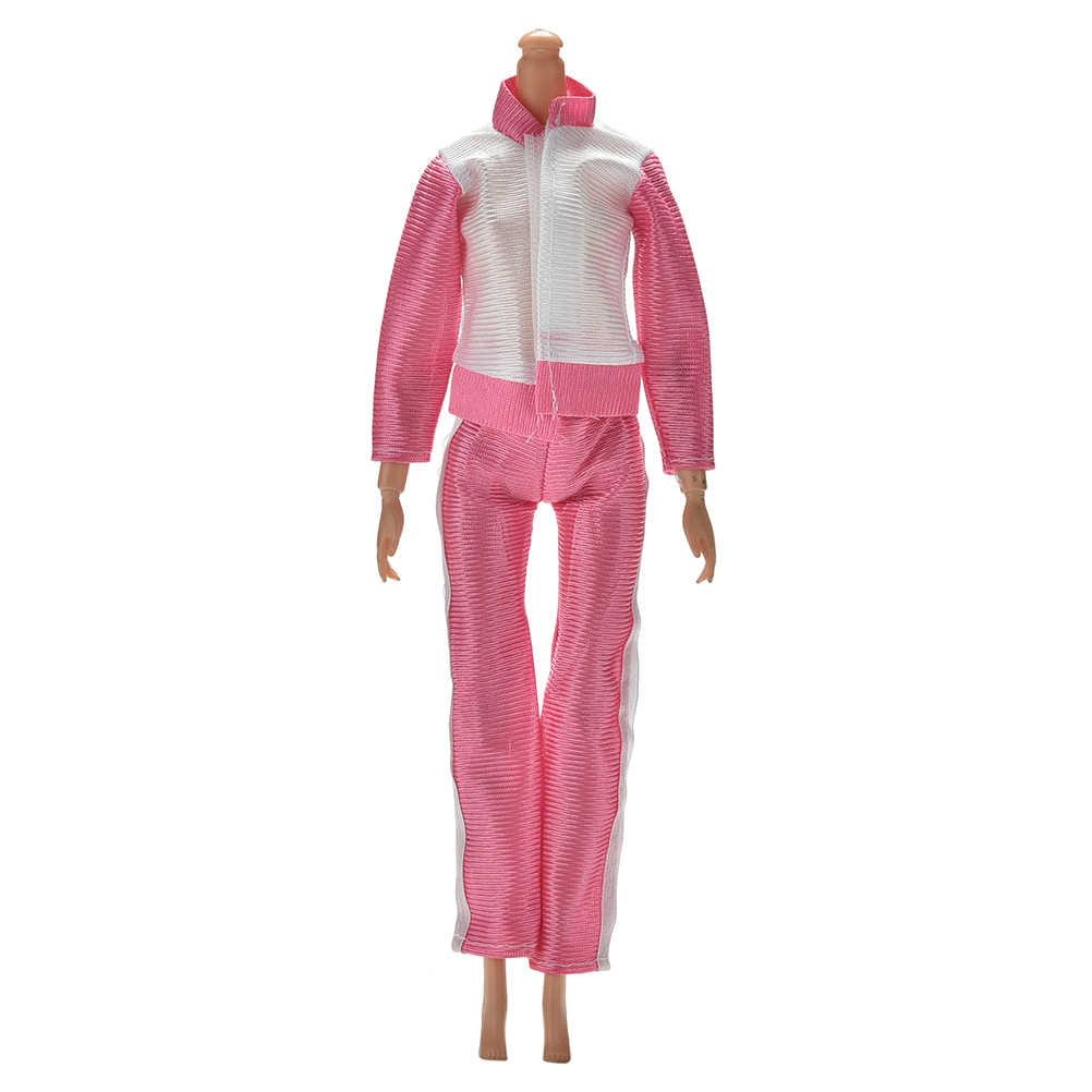 手作りスポーツ衣装カジュアルウェア長袖ブラウスズボンスーツ人形服のスーツ人形ピンクカラーコートパンツ 2 ピース/セット