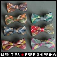 High Quality Men Bow Tie Plaid Style Cotton Bowtie Casual Gravata Borboleta Butterfly Tartan Strip Colorful