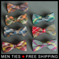 High quality Men Bow Tie Plaid Style Cotton Bowtie Casual Gravata Borboleta Butterfly Tartan Strip Colorful Ties