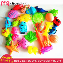 Happyxuan 27pcs/set Funny Magnetic Fishing Play Kids Game 1 Poles 1 Net 25 Plastic Magnet Fish Indoor Outdoor Fun Bath Toy(China)