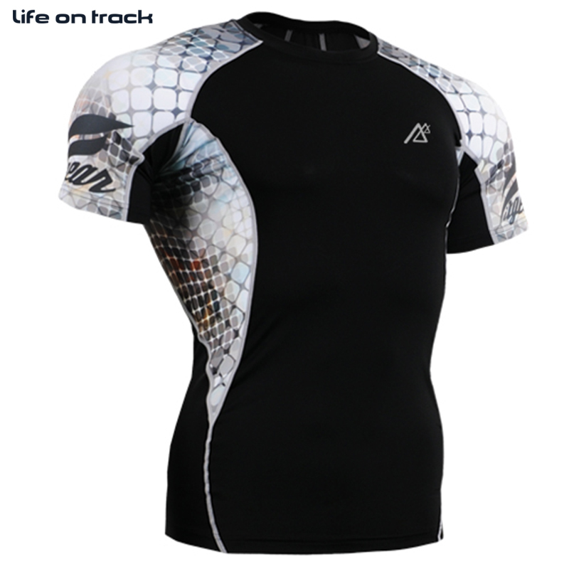 Life On Track Men Sports T Shirt Compression Base Layer Running Fitness Tights Skin tight Sportswear Workout Gym Tshirt Jerseys