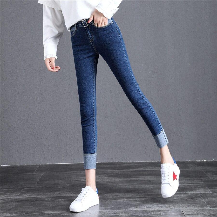 Casual Jeans Skinny Alta Mujeres Moda Stretch Azul Elástico Pantalones  Tobillo Para Patchwork Lápiz De Mujer Cintura Denim zwRqrzU fb7c801ae85c
