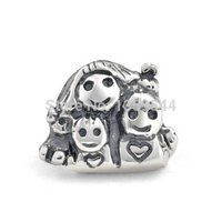 Everbling Mother Children Happy Family 925 Sterling Silver Charm Bead Fits Pandora European Charms Bracelet