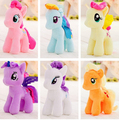 "6 unids/lote 7 ""18 cm lindo arco iris caballo juguetes de dibujos animados juguetes aficiones stuffed dolls movie tv animales de peluche de felpa pequeño caballo baoli"