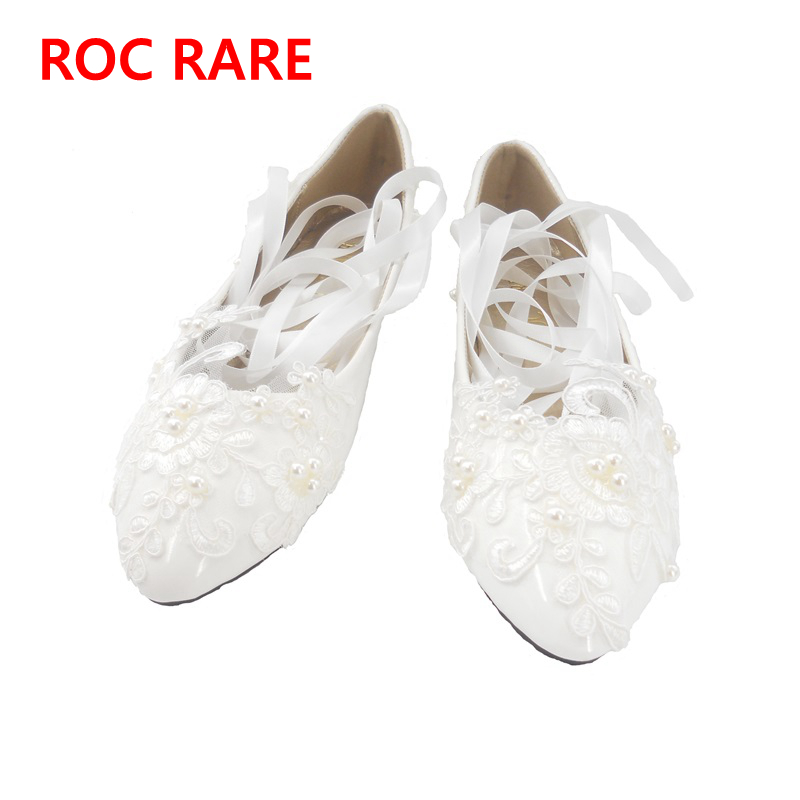 цена на High Quality White/Red Lace Pearls Women Wedding Shoes With Ribbons Lace Up  Ladies Party/Dress Shoes Pointed Toes Size EU34-40