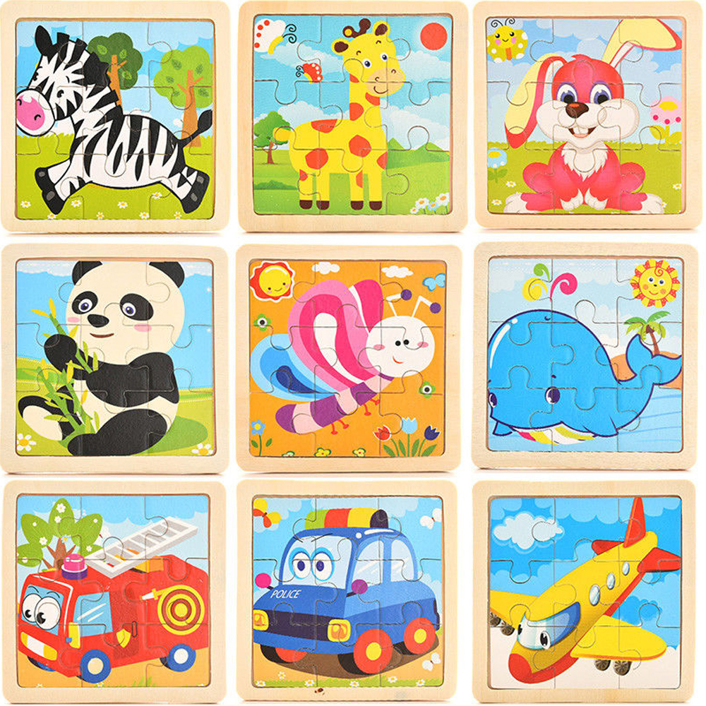 Development Baby Toys 3D Wooden Puzzle Mini Puzzles Cartoon Learning Educational Kids Toy Animal Car Aircraft  3деревянные игруш