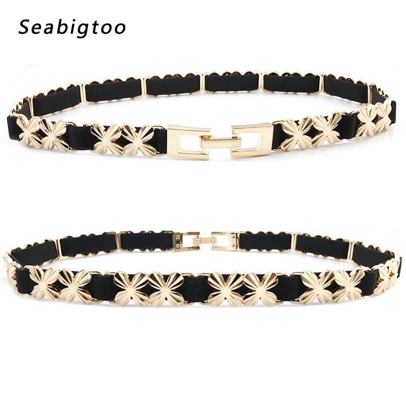 Elastic Stretch Belts For Women's Chain Belts Female Metal Chain Gold Buckle Belts For Ladies' Dress Luxury Brand Designer Belts