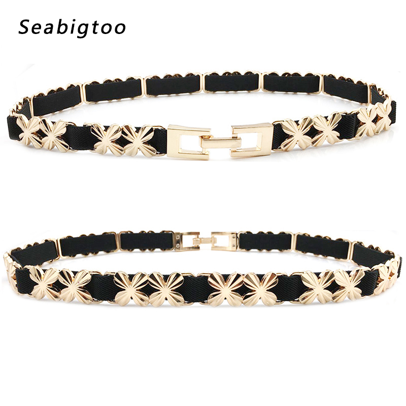 Elastic Stretch   Belts   for women's chain   belts   female Metal Chain Gold Buckle   Belts   For Ladies' Dress luxury brand designer   belts