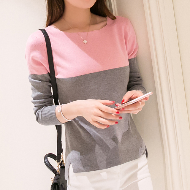 2016 new Spring autumn summer women fashion sweater female top pullover basic Square Collar Patchwork long sleeve knitted shirt