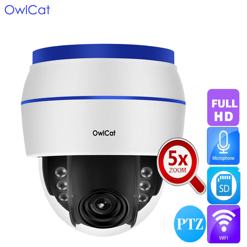 OwlCat Indoor 1080P HD Dome IP Camera WIFI Audio Microphone Wireless Video Surveillance Network Cam SD slot 5x Optical Zoom PTZ owlcat hd 1080p dome ptz ip camera wifi 5x optical zoom audio microphone security cctv wifi camera sd slot ir night onvif2 4 p2p